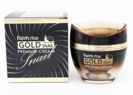 Крем премиальный с золотом и муцином улитки FARMSTAY Gold snail premium cream 50мл: фото