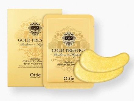Гидрогелевые патчи для глаз с коллоидным золотом OTTIE Gold Prestige Resilience Hydrogel Eye Zone Mask 12шт: фото