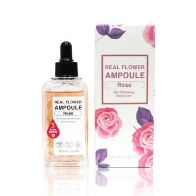 Сыворотка осветляющая с розой May Island Real Flower Ampoule Rose 100мл: фото
