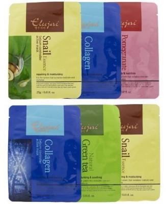 Набор тканевых масок Elujai Active Masks: Snail (2шт.), Green Tea, Collagen (2шт), Pomegranate: фото
